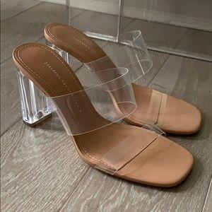 Zara Vinyl Sandals. Block Heel. Size 39